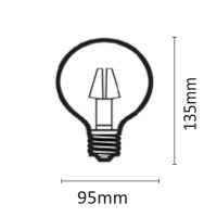 InLight E27 LED Filament G95 12watt Φυσικό Λευκό (7.27.12.21.2)